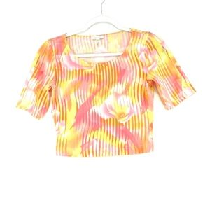 Escape pink and yellow tropical print cropped top